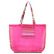 Zodaca Waterproof Beach Mesh Picnic HandBag Shoulder Tote Carry Bag for Shopping Outdoor Activity - Pink Aztec with Green