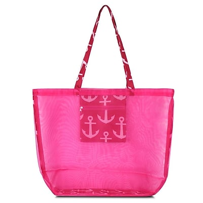 Zodaca Waterproof Beach Mesh Picnic HandBag Shoulder Tote Carry Bag for Shopping Outdoor Activity - Pink Anchors with Pink Trim