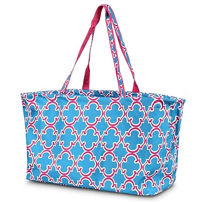 Zodaca Large All Purpose Stylish Open Top Handbag Laundry Shopping Utility Tote Carry Bag - Quatrefoil Blue