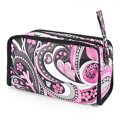 Zodaca Women Travel Pencil Case Cosmetic Makeup Storage Organizer Bag Toiletry Zip Pouch w/Wrist Handle - Purple Flower