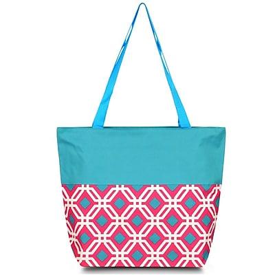 Zodaca Lightweight Large All Purpose Handbag Travel Shopping Zipper Carry Tote Shoulder Bag - Pink Graphic