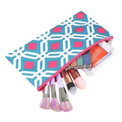 Zodaca Pencil Case Toiletry Holder Cosmetic Bag Travel Makeup Zip Storage Organizer - Graphic Blue