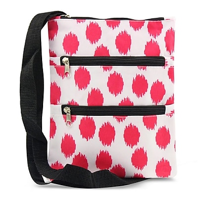 Zodaca Women Small Messenger Cross Body Zipper Shoulder Bag - Pink Dots with Black Trim