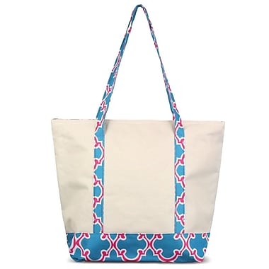 Zodaca Stylish Small Pinic Outdoor Camping Party Food Drink Storage Insulated Cooler Tote Bag - Blue Quatrefoil