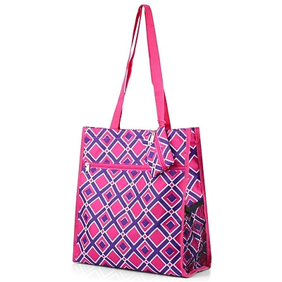 Zodaca Lightweight All Purpose Handbag Zipper Carry Tote Shoulder Bag for Travel Shopping - Purple/Pink Times Square