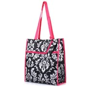 Zodaca Lightweight All Purpose Handbag Zipper Carry Tote Shoulder Bag for Travel Shopping - Damask Pink Trim