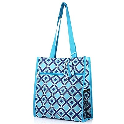 Zodaca Lightweight All Purpose Handbag Zipper Carry Tote Shoulder Bag for Travel Shopping - Navy/Turquoise Times Square