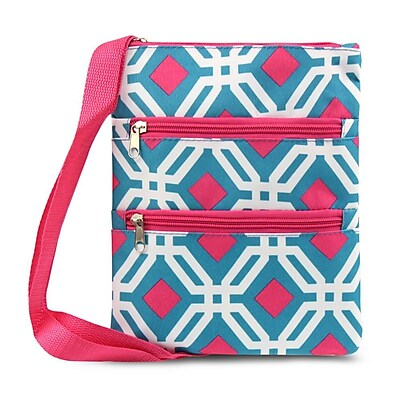 Zodaca Women Small Messenger Cross Body Zipper Shoulder Bag - Blue Graphic