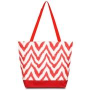 Zodaca Large All Purpose Lightweight Handbag Shopping Travel Tote Carry Shoulder Zipper Bag - Chevron Tie Dye Red