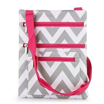 Zodaca Lightweight Padded Shoulder Cross Body Bag Messenger Travel Camping Zipper Bag - Gray/Pink Chevron