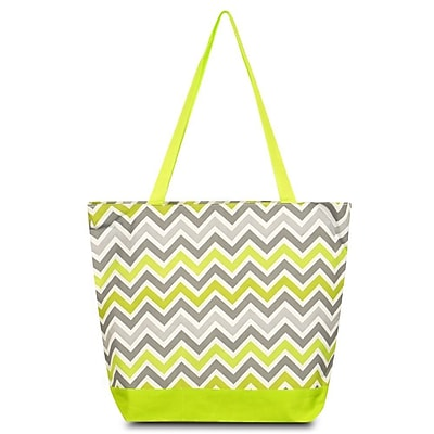 Zodaca Large All Purpose Lightweight Handbag Shopping Travel Tote Carry Shoulder Zipper Bag - Gray Green Chevron