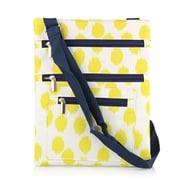 Zodaca Lightweight Padded Shoulder Cross Body Bag Messenger Travel Camping Zipper Bag  - Yellow Dots with Blue Trim
