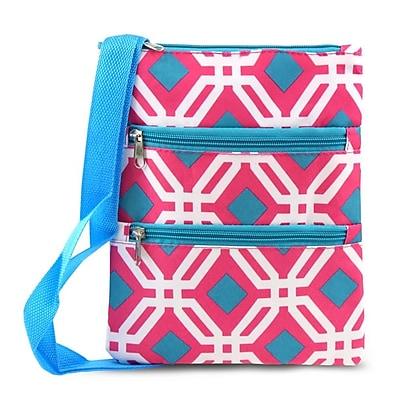 Zodaca Women Small Messenger Cross Body Zipper Shoulder Bag - Pink Graphic