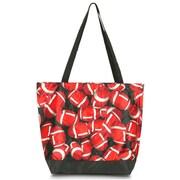Zodaca Large All Purpose Lightweight Handbag Shopping Travel Tote Carry Shoulder Zipper Bag - Football