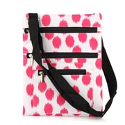 Zodaca Lightweight Padded Shoulder Cross Body Bag Messenger Travel Camping Zipper Bag  - Pink Dot with Black Trim