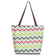 Zodaca Large All Purpose Lightweight Handbag Shopping Travel Tote Carry Shoulder Zipper Bag - Multicolor Chevron