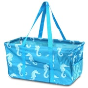 Zodaca All Purpose Wireframe Water Resistant Travel Handbag Laundry Shopping Utility Tote Carry Bag - Turquoise Seahorse