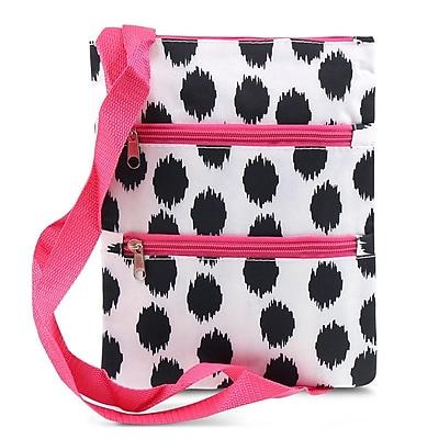 Zodaca Women Small Messenger Cross Body Zipper Shoulder Bag - Black Dots with Pink Trim