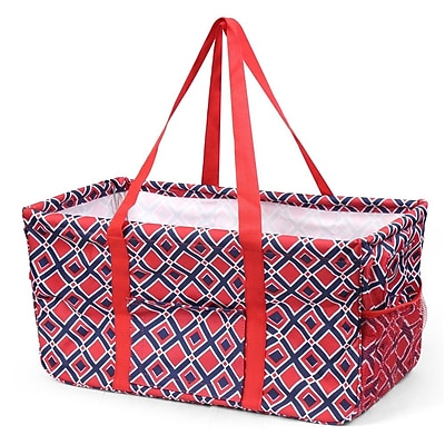 Zodaca All Purpose Wireframe Utility Waterproof Handbag Tote Bag for Travel Laundry Shopping - Red/Navy Times Square