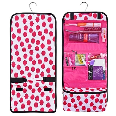 Zodaca Travel Hanging Cosmetic Carry Bag Toiletry Wash Organizer Storage - Pink Black Dots