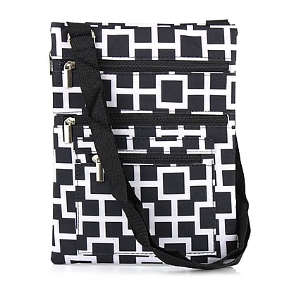 Zodaca Lightweight Padded Shoulder Cross Body Bag Messenger Travel Camping Zipper Bag - Black/White Geometric