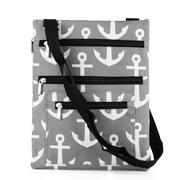 Zodaca Lightweight Padded Shoulder Cross Body Bag Messenger Travel Camping Zipper Bag  - Gray Anchors with Black Trim