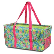 Zodaca All Purpose Wireframe Water Resistant Travel Handbag Laundry Shopping Utility Tote Carry Bag - Green/Pink Paisley