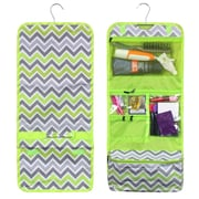 Zodaca Travel Hanging Cosmetic Carry Bag Toiletry Wash Organizer Storage - Green/Gray Chevron