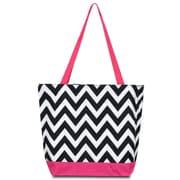 Zodaca Large All Purpose Handbag Travel Shopping Zipper Carry Tote Shoulder Bag - Black/White Chevron Pink Trim