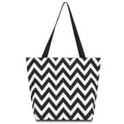 Zodaca Large All Purpose Lightweight Handbag Shopping Travel Tote Carry Shoulder Zipper Bag - Black/White Chevron