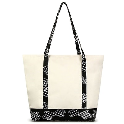 Zodaca Stylish Small Pinic Outdoor Camping Party Food Drink Storage Insulated Cooler Tote Bag - Hounds Tooth Bows