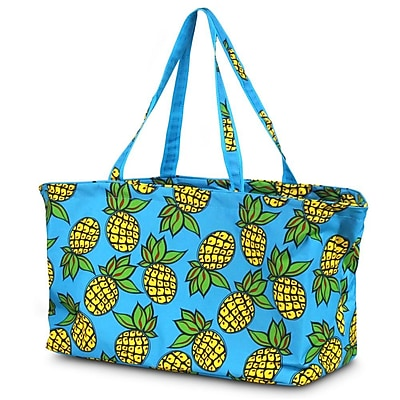 Zodaca Large All Purpose Stylish Magnetic Clasp Open Top Handbag Laundry Shopping Utility Tote Carry Bag - Pineapple