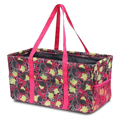 Zodaca All Purpose Wireframe Water Resistant Travel Handbag Laundry Shopping Utility Tote Bag - Yellow/Pink Paisley