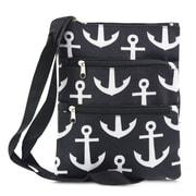 Zodaca Women Small Messenger Cross Body Zipper Shoulder Bag - Black Anchors with Black Trim