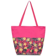 Zodaca Lightweight Large All Purpose Handbag Travel Shopping Zipper Carry Tote Shoulder Bag - Pink Yellow Paisley