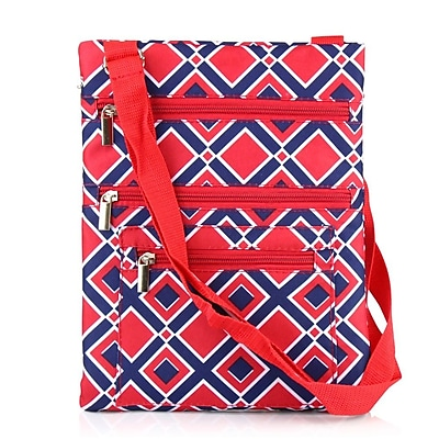 Zodaca Lightweight Padded Shoulder Cross Body Bag Messenger Travel Camping Zipper Bag - Navy/Red Times Square