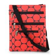 Zodaca Lightweight Padded Shoulder Cross Body Bag Messenger Travel Camping Zipper Bag  - Red Polka Dots