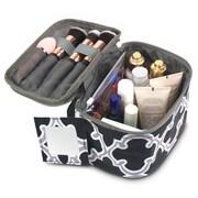 Zodaca Lightweight Makeup Travel Cosmetic Bag Case Multifunction Pouch Toiletry Zip Wash Organizer - Black Quatrefoil