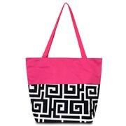 Zodaca Large All Purpose Handbag Travel Shopping Zipper Carry Tote Shoulder Bag - Black Greek Key with Pink Trim