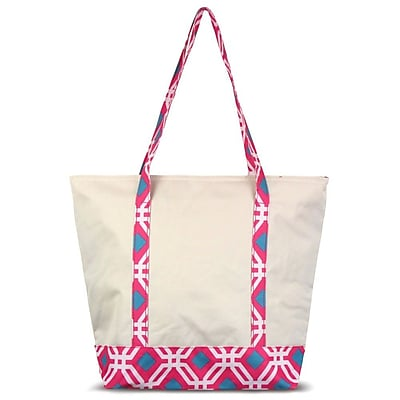 Zodaca Stylish Small Pinic Outdoor Camping Party Food Drink Storage Insulated Cooler Tote Bag - Pink Graphic