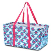 Zodaca All Purpose Wireframe Water Resistant Travel Handbag Laundry Shopping Utility Tote Carry Bag - Quatrefoil Blue