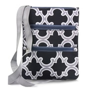 Zodaca Women Small Messenger Cross Body Zipper Shoulder Bag - Black Quatrefoil