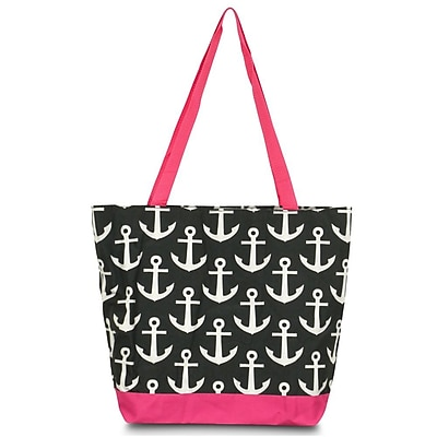 Zodaca Large All Purpose Handbag Travel Shopping Zipper Carry Tote Shoulder Bag - Black Anchors with Pink Trim