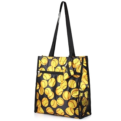 Zodaca Lightweight All Purpose Handbag Zipper Carry Tote Shoulder Bag for Travel Shopping - Yellow Softball