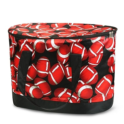 Zodaca Large Pinic Travel Outdoor Camping Party Food Drink Water Storage Zip Cooler Bag - Red/Black Football