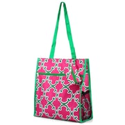 Zodaca Lightweight All Purpose Handbag Zipper Carry Tote Shoulder Bag for Travel Shopping - Pink Quatrefoil