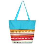 Zodaca Lightweight Large All Purpose Handbag Travel Shopping Zipper Carry Tote Shoulder Bag - Aztec with Blue Trim