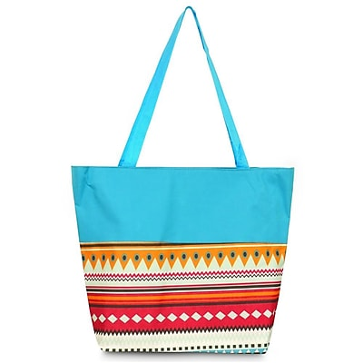 Zodaca Lightweight Large All Purpose Handbag Travel Shopping Zipper Carry Tote Shoulder Bag - Aztec with Blue Trim