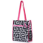 Zodaca Lightweight All Purpose Handbag Zipper Carry Tote Shoulder Bag for Travel Shopping - Black Greek Key with Pink