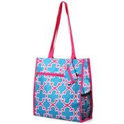 Zodaca Lightweight All Purpose Handbag Zipper Carry Tote Shoulder Bag for Travel Shopping - Blue Quatrefoil